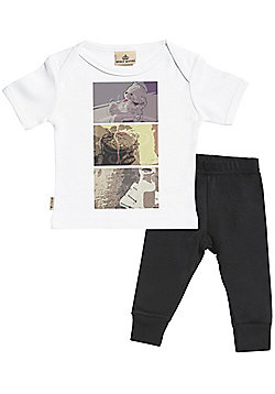 Baby Squares Print Baby T-Shirt & Baby Jersey Trousers Outfit Set - White