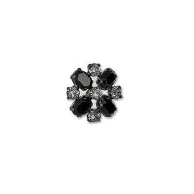 Impex Diamante Round Button - Jet Black and Nickel 22mm