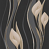 Superfresco Easy Peace Paste The Wall Lilies Floral Black Wallpaper