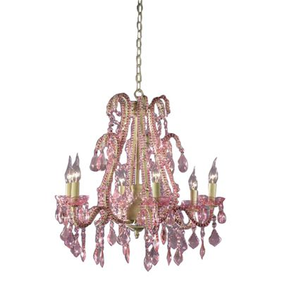 Marie Therese Cream Crack Chandelier, Pink Crystal - 6 Arm