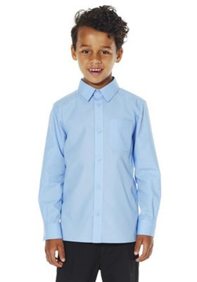 F&F School 2 Pack of Boys Easy Iron Long Sleeve Shirts 15-16 years Blue
