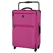 IT Luggage World's Lightest 4 wheel Pink Check Medium Suitcase