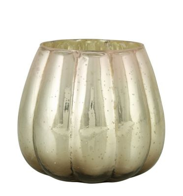 Rose Quartz Ribbed Glass Tealight Holder (10cm)