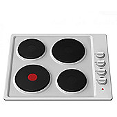 Cookology 60cm White Built-in Solid Plate Electric Hob | Enamel Hotplate
