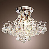 Homcom 3 Lights Ceiling Chandelier Pendant Crystal Light w/ Transparent K9 Crystal Droplets