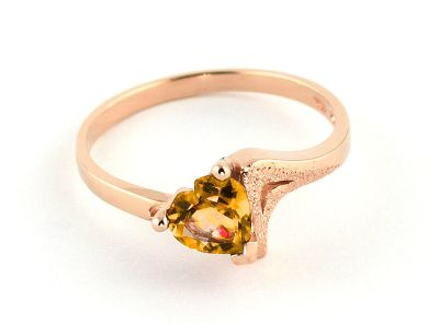 QP Jewellers 0.95ct Citrine Devotion Heart Ring in 14K Rose Gold - Size M