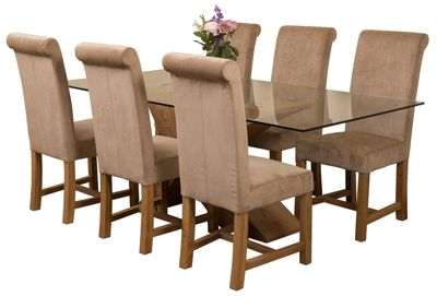 Valencia Large Oak 200cm Modern Glass Dining Set Table & 6 Beige Fabric Chairs