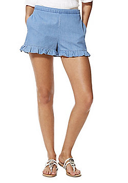 Vila Ruffle Hem Denim Shorts - Light wash