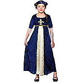 Tudor Princess Childrens Fancy Dress Costume Dress & Headpiece - Blue