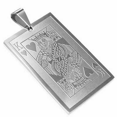 Urban Male Men's Pendant King of Hearts Playing Card Design In Stainless Steel