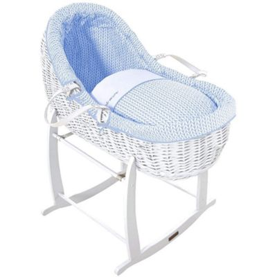 Clair de Lune White Willow Bassinet (Barley Bebe Blue)