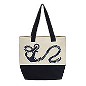 Anchors Away! Large Canvas Tote Bag 48x46cm