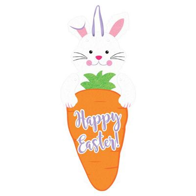 Easter Bunny & Carrot Jointed Sign - Felt Sign 60cm