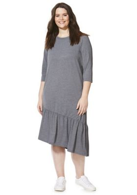Junarose Asymmetric Drop Hem Jersey Plus Size Dress Grey 20-22