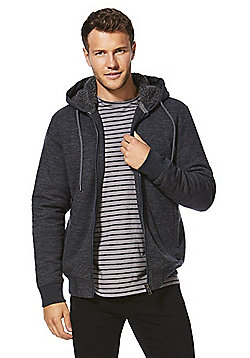 F&F Borg Lined Textured Hoodie - Blue & Grey