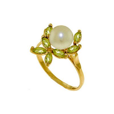 QP Jewellers Peridot & Pearl Ivy Ring in 14K Gold - Size D 1/2