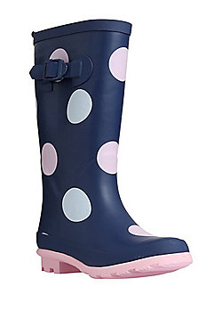 F&F Faux Fur Lined Polka Dot Wellies - Navy