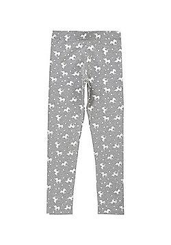 F&F Unicorn Print Leggings - Grey
