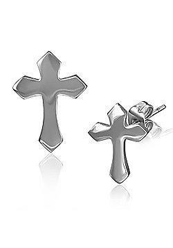 Urban Male Stainless Steel Cross Stud Earrings For Men