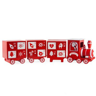 Buy Large Wooden Red White Christmas Train Advent Calendar From