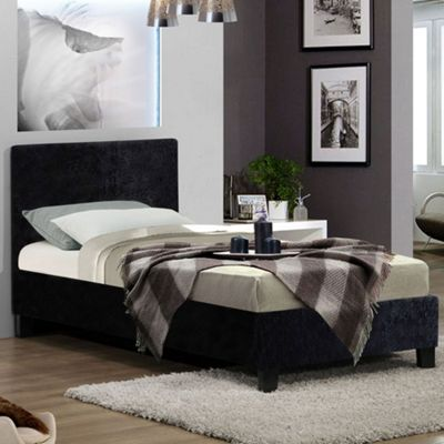 Happy Beds Berlin Crushed Velvet Fabric Bed with Open Coil Spring Mattress - Black - 3ft Single
