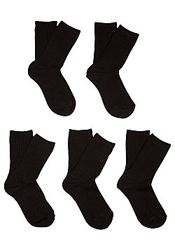 F&F 5 Pair Pack of Ribbed Socks - Black