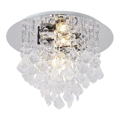 Modern crystal effect semi flush ceiling light with clear acrylic droplets