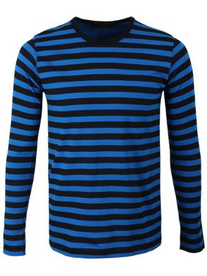 Striped Black and Blue Long Sleeved Men's T-shirt