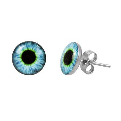 Urban Male Eyeball Design Stainless Steel Men's Round Stud Earrings 10mm