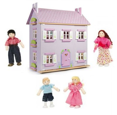 Le Toy Van Lavender House Dolls House and My Family of 4 Dolls