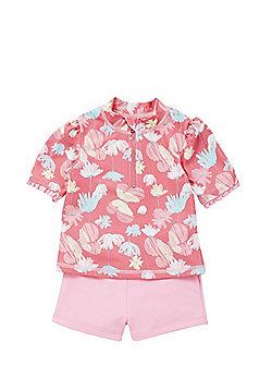 F&F Floral Print UPF 50+ Rash Vest and Shorts Set - Pink