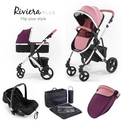 Tutti Bambini Riviera Plus 3 in 1 Silver Travel System - Dusty Pink / Plum