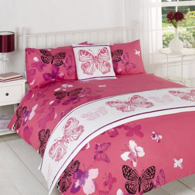 Dreamscene Butterfly Print Bed In A Bag Pink - Single Size