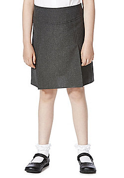 F&F School 2 Pack of Girls Permanent Pleat Skirts - Grey