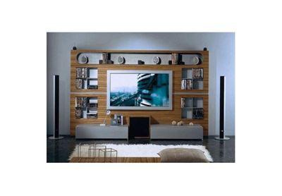 Triskom Metal Wall Entertainment Center TV Stand for LCD / Plasmas - Zebrano/Metal Silver