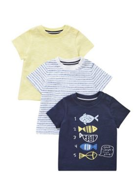 F&F 3 Pack of Counting Fish and Patterned T-Shirts Multi 0-1 months