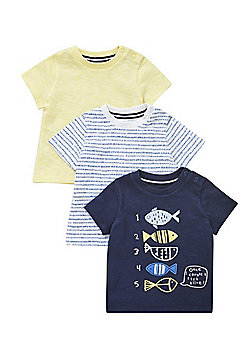 F&F 3 Pack of Counting Fish and Patterned T-Shirts - Multi
