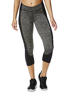 F&F Active Space Dye Panel Cropped Leggings - Grey & Black