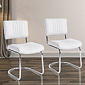 Homcom Set of 2 Padded Metal Dining Furniture (White)