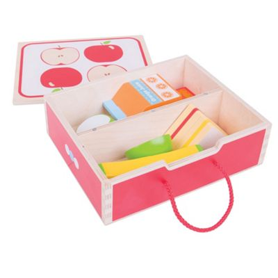 Bigjigs Toys Wooden Lunch Box with Wooden Play Food - Pretend Play and Role Play for Children