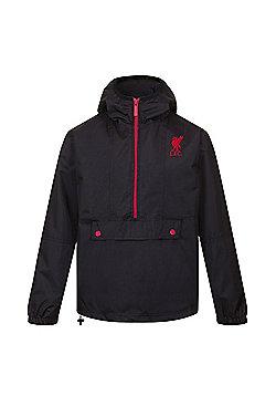 Liverpool FC Mens Shower Jacket - Black & Red