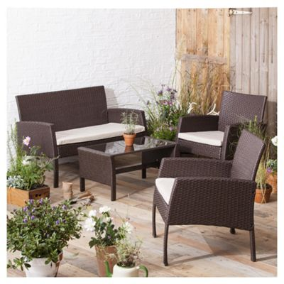 rattan garden lounge set brown 4 piece - Rattan Garden Furniture Tesco