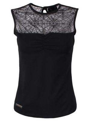 Queen of Darkness With Spidernet Inersets Women's Top, Black.