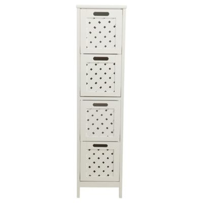 Sheringham Bathroom 4 Drawer Tower Cabinet, White Wood