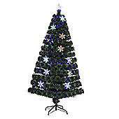 Homcom 5ft Green Fibre Optic Artificial Christmas Tree LED Light with Snowflakes Ornaments (5ft (150cm))
