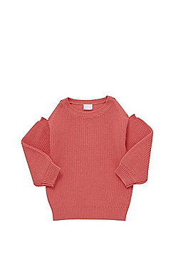 F&F Rib Knit Cold Shoulder Jumper - Pink