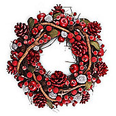 Large Seasonal Red & Green Leafed Berry & Pine Cone Christmas Wreath
