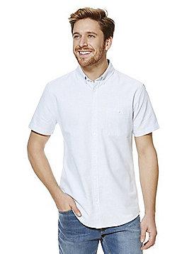 F&F Striped Short Sleeve Oxford Shirt - Blue