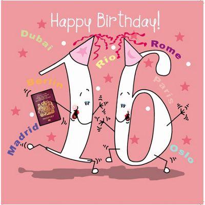 Happy Birthday, 16 Today Girls Greetings Card