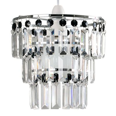 Kelsks 3 Tiered Ceiling Pendant Shade & Black & Clear Droplets